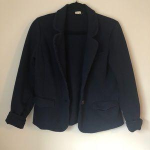 J.Crew Navy Cotton Stretch Blazer Size S